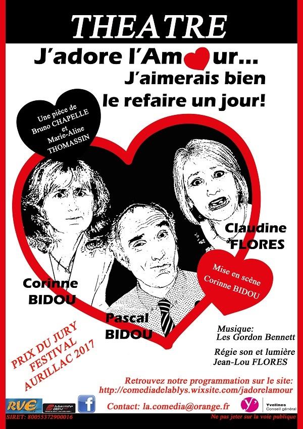 Affiche j adore l amour flyer theatre logos coordonnees